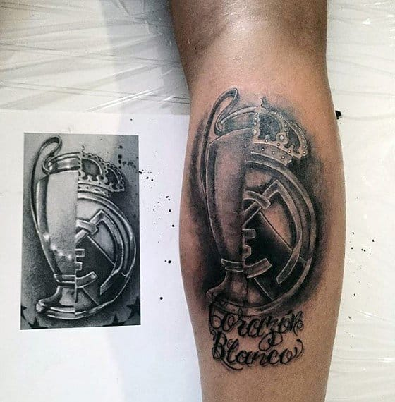 Leg Calf Mens Real Madrid Tattoo