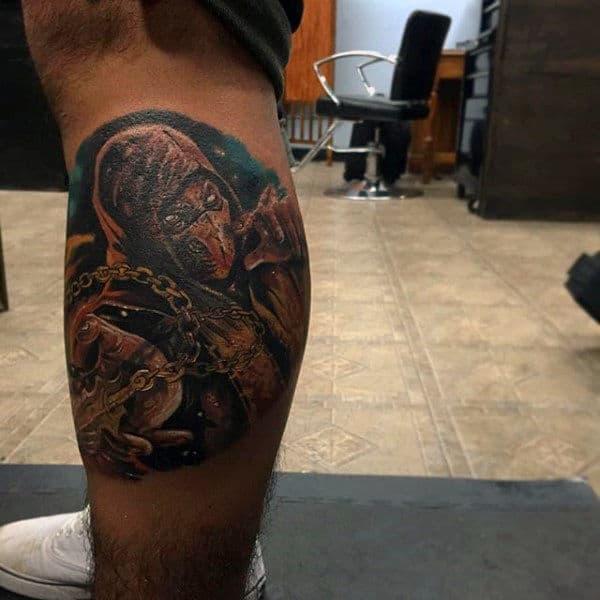 Leg Calf Mortal Kombat Male Tattoo Inspiration