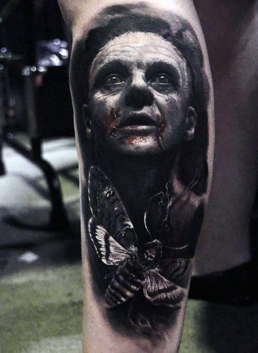 Leg Calf Moth Portrait Hyper Realistic Mens Tattoos