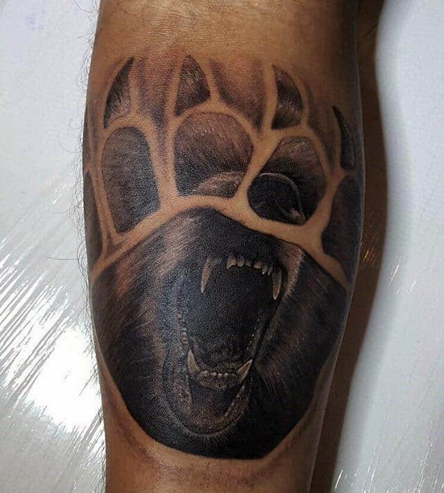 Leg Calf Negative Space Bear Claw Tattoos For Guys