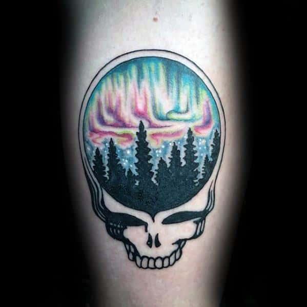 Leg Calf Nothern Lights Grateful Dead Tattoo Design On Man