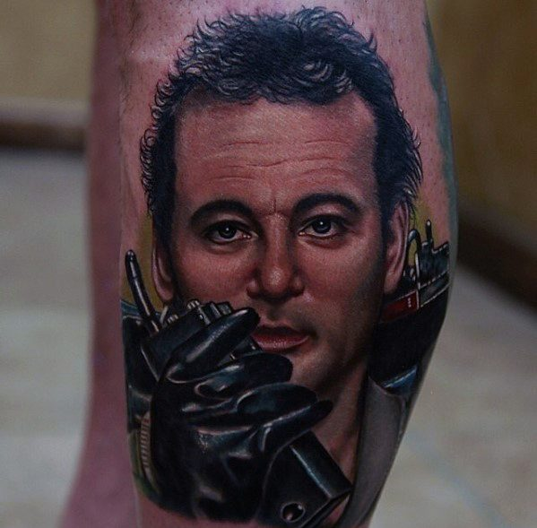 Leg Calf Portrait Ghostbusters Tattoo Ideas For Gentlemen