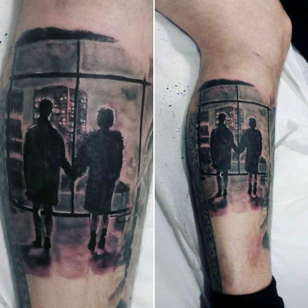 Leg Calf Quarter Sleeve Mens Fight Club Window Tattoo