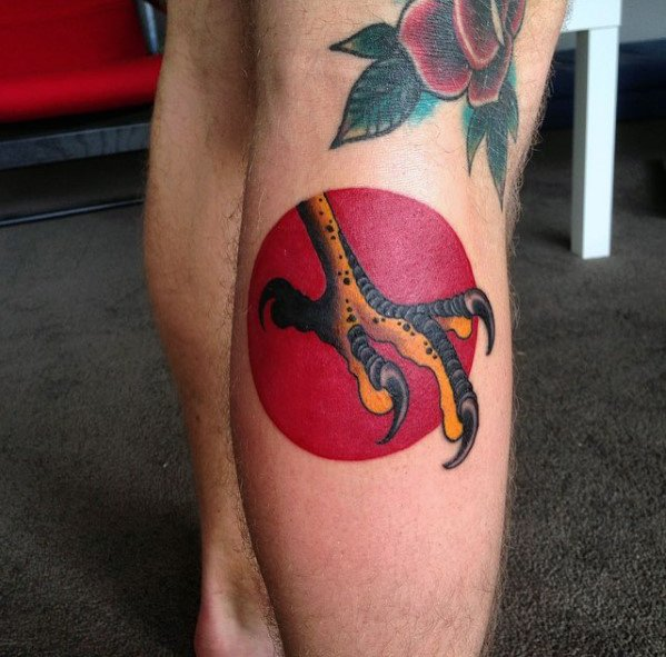 Leg Calf Red Sun Distinctive Male Talon Tattoo Designs