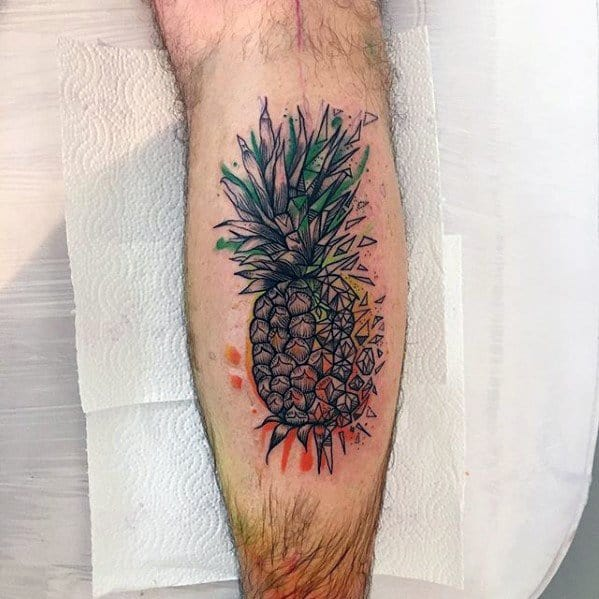 Leg Calf Remarkable Pineapple Tattoos For Males