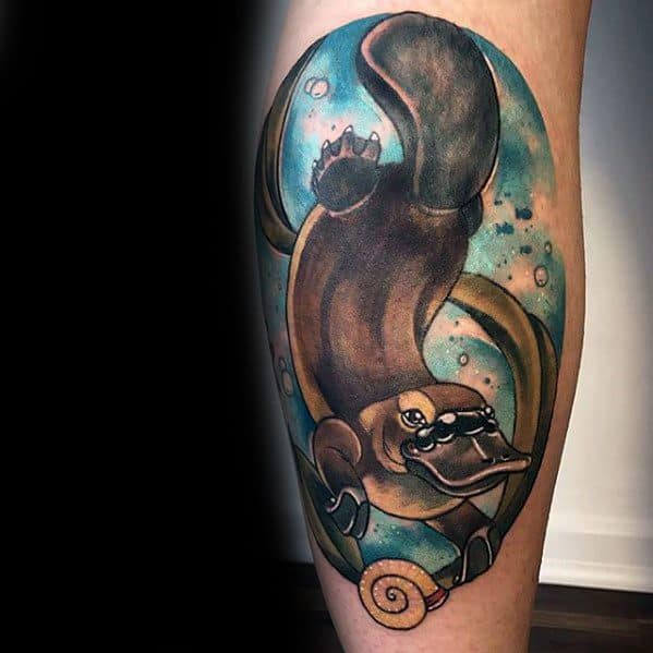 Leg Calf Remarkable Platypus Tattoos For Males