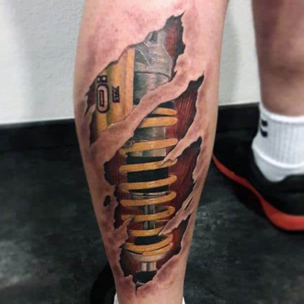 Leg Calf Ripped Skin Suspension Male Tattoos