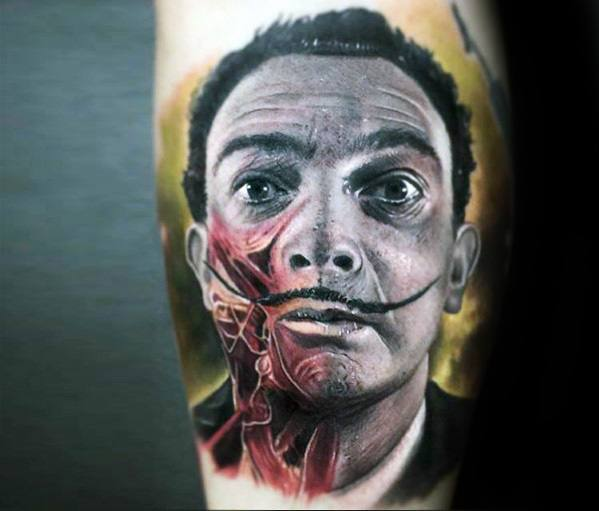 Leg Calf Salvador Dali Male Tattoos