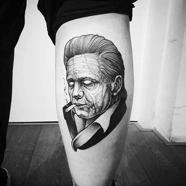 Leg Calf Shaded Johnny Cash Guys Tattoos