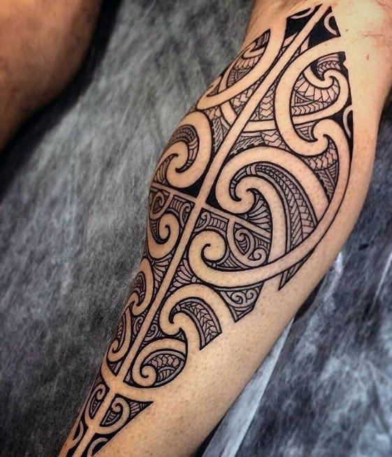 Leg Calf Sharp Badass Tribal Male Tattoo Ideas
