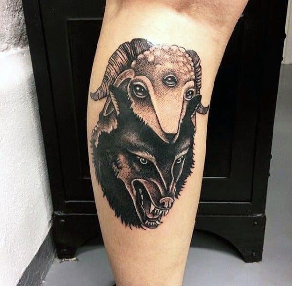 Leg Calf Sheep Tattoo Ideas For Males
