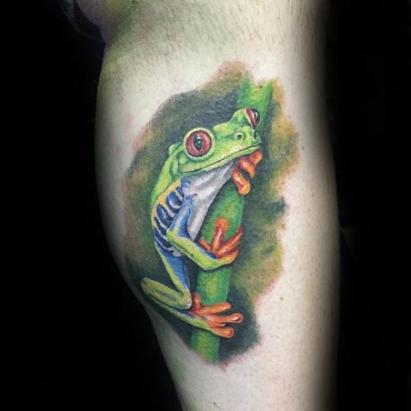 Leg Calf Side Mens Tree Frog Tattoo Ideas