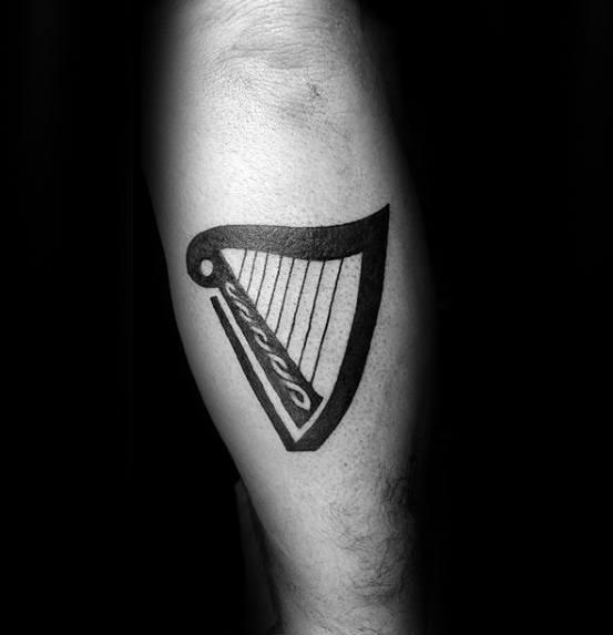 Leg Calf Simple Small Harp Tattoo Ideas On Guys