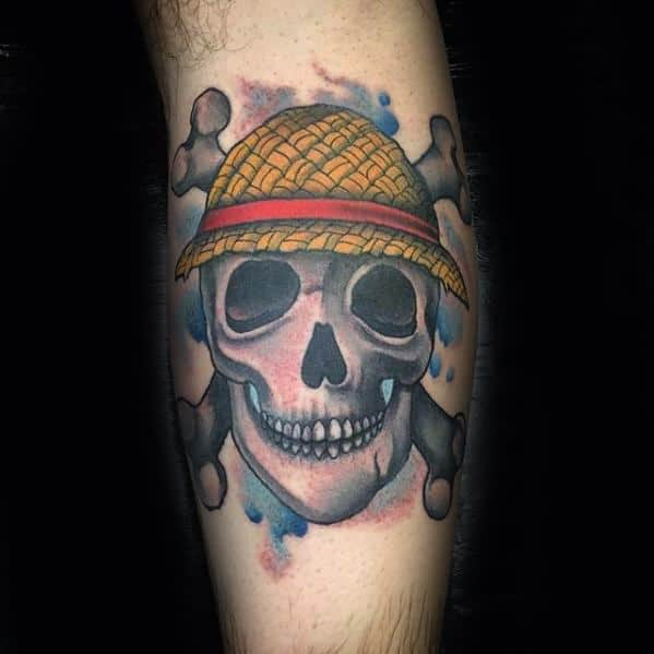 Leg Calf Skull Mens Manly One Piece Tattoo Designs