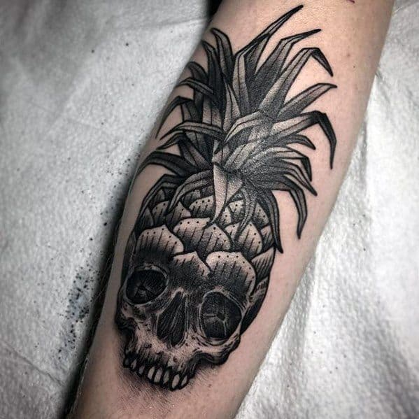Leg Calf Skull Pineapple Tattoo Ideas On Guys