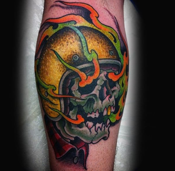 Leg Calf Skull Wearing Motorcycle Helmet Old School Biker Tattoos
