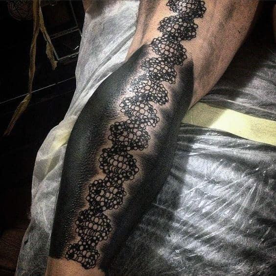 Leg Calf Sleeve Negative Space Black Ink Mens Dna Tattoos