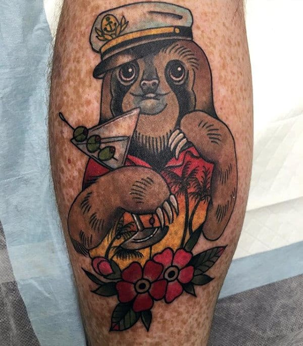 Leg Calf Sloth On Vacation Male Tattoo Ideas