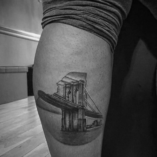 Leg Calf Small Brooklyn Bridge Tattoo Ideas For Men