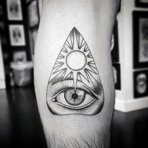 Leg Calf Star Planchette Mens Tattoo Ideas