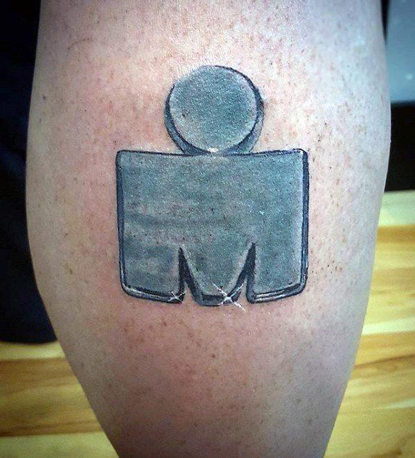 Leg Calf Steel Ironman Male Tattoo Designs