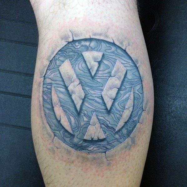 Leg Calf Stone 3d Logo Volkswagen Wv Tattoo Designs For Guys