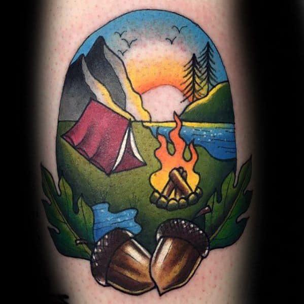 Leg Calf Tent Tattoo Designs For Guys