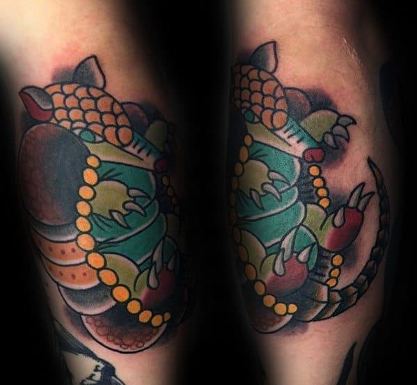 Leg Calf Traditional Armadillo Tattoo Design On Man