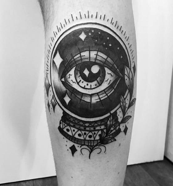Leg Calf Traditional Eye Crystal Ball Mens Tattoo Designs