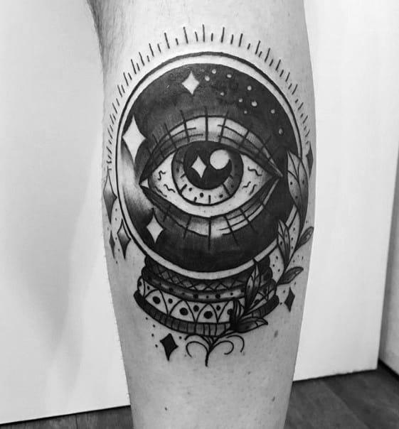 Leg Calf Traditional Eye Crystal Ball Mens Tattoo Designs