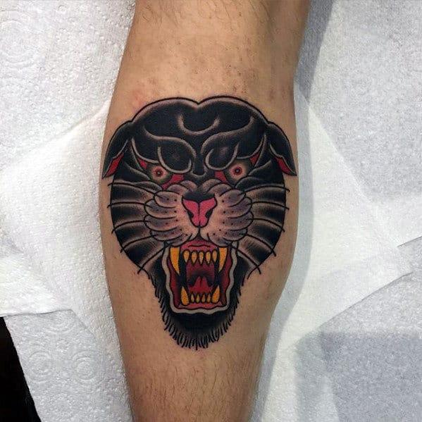 Leg Calf Traditional Panther Head Tattoos For Gentlemen