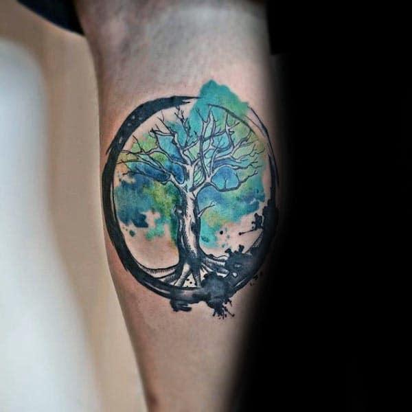 Leg Calf Tree Of Life Watercolor Shaded Green Paint Brush Stroke Mens Tattoos