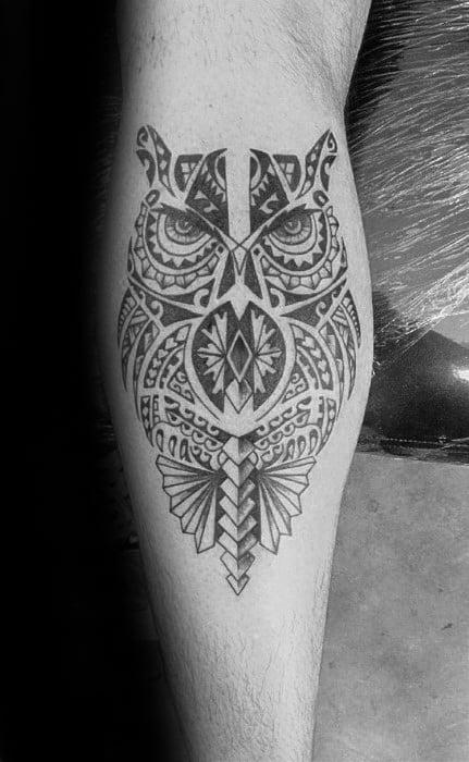 Leg Calf Tribal Owl Polynesian Tattoo Ideas For Men