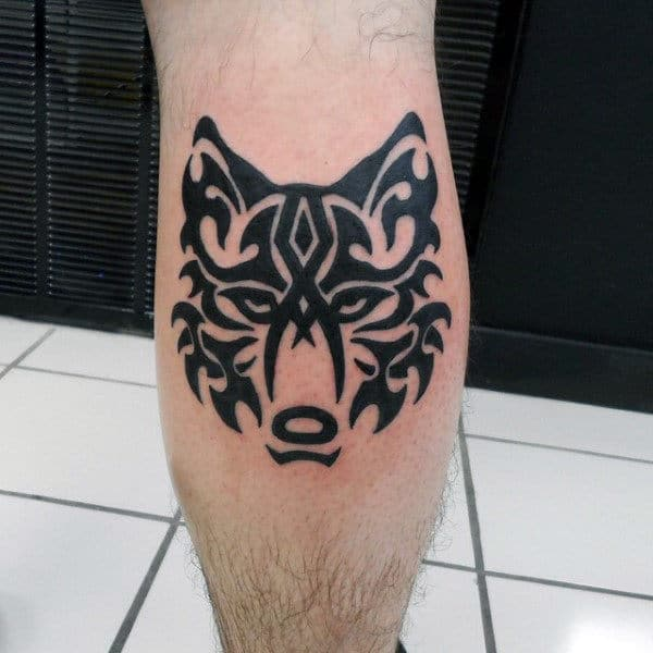 Leg Calf Tribal Wolf Black Ink Guys Tattoos