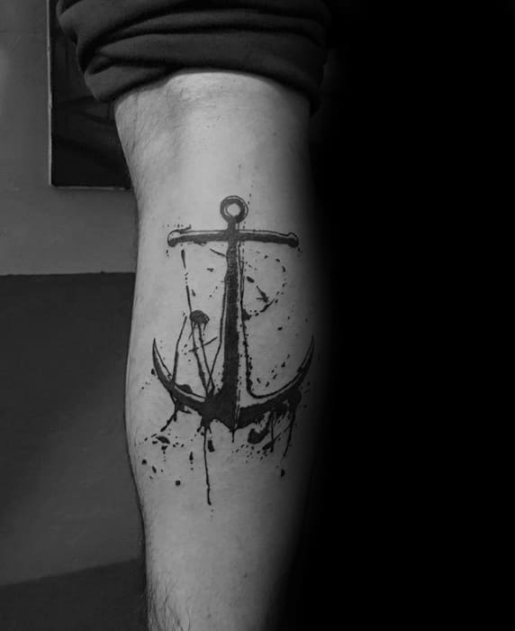 Leg Calf Watercolor Paint Splatter Mens Unique Anchor Tattoos