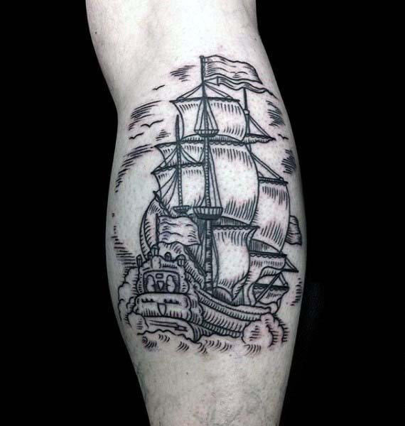 Leg Calf Woodcut Mens Sailing Ship Tattoos