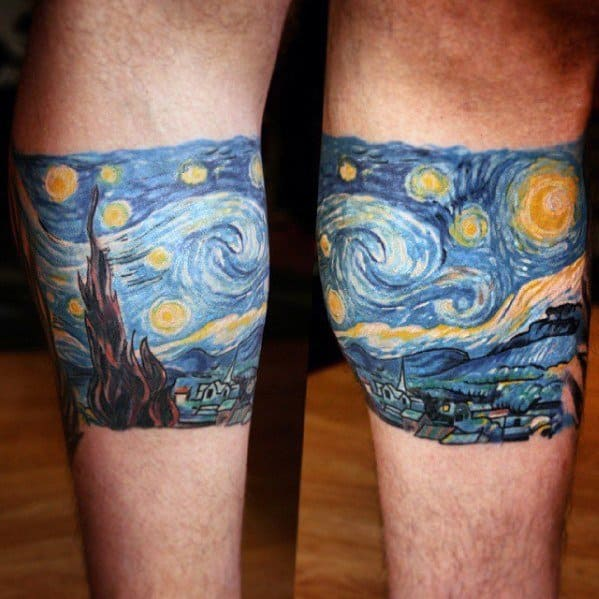 Leg Cand Male Vincent Van Gogh Tattoo Designs