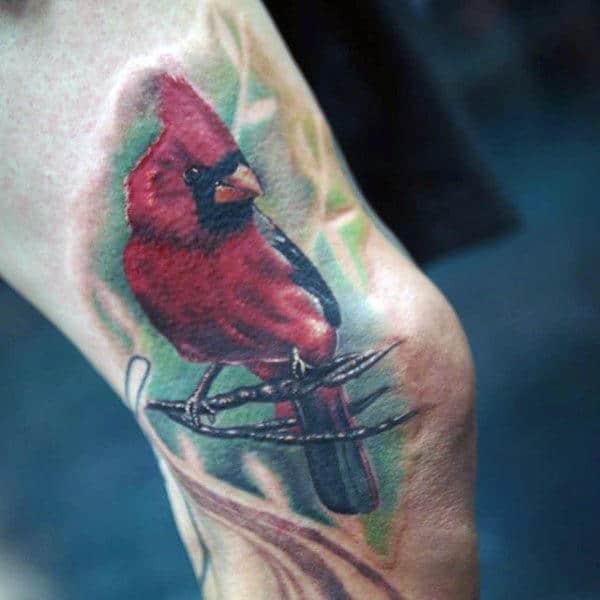 Leg Cardinal Male Watercolor Tattoo Designs