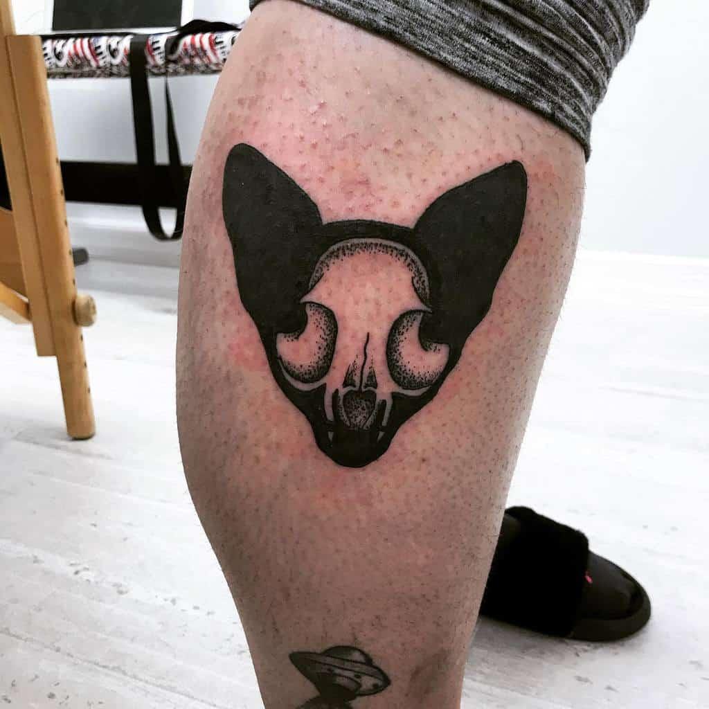 leg cat skull tattoo _beautifulytragic_