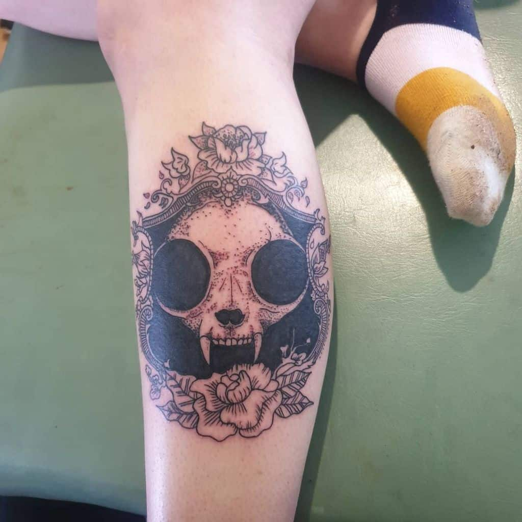 leg cat skull tattoo billy_j_tattoo
