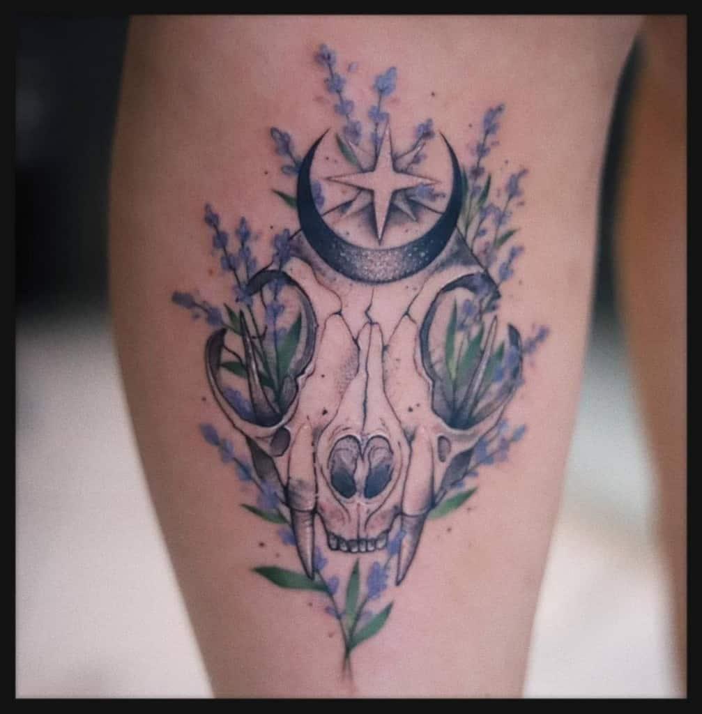leg cat skull tattoo blacklinestudio