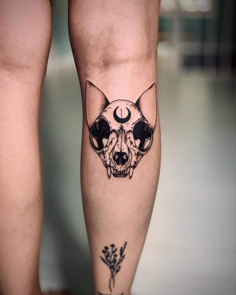 leg cat skull tattoo jady.tess
