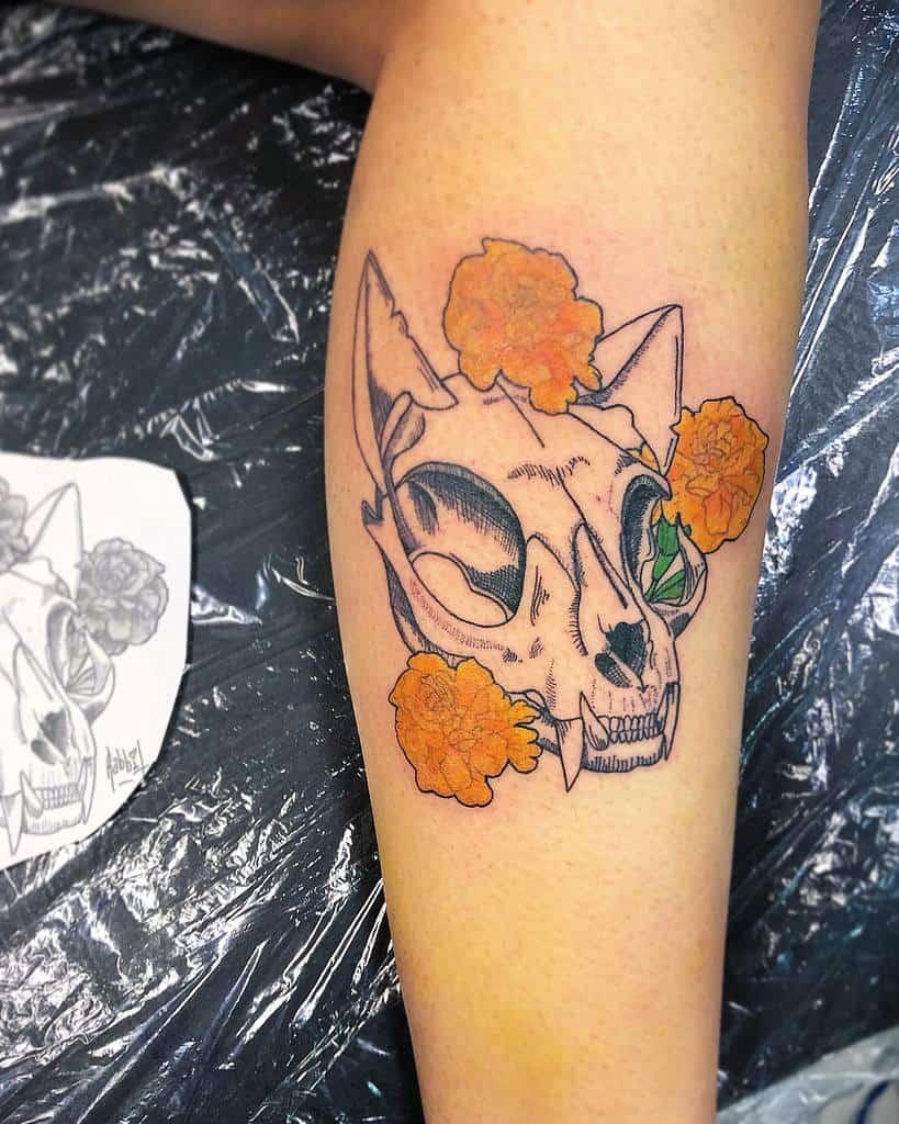 leg cat skull tattoo theblackbunnygirl