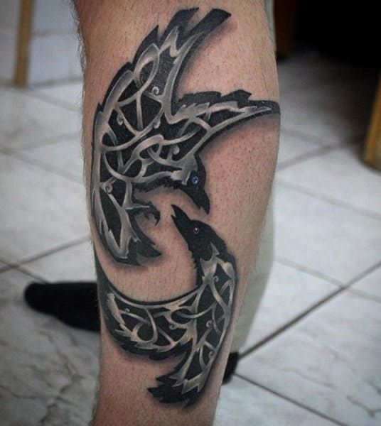 Leg Celtic Knot Black Crows Tattoos