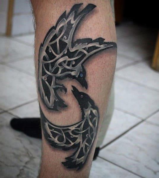 Leg Celtic Knot Black Crows Tattoos