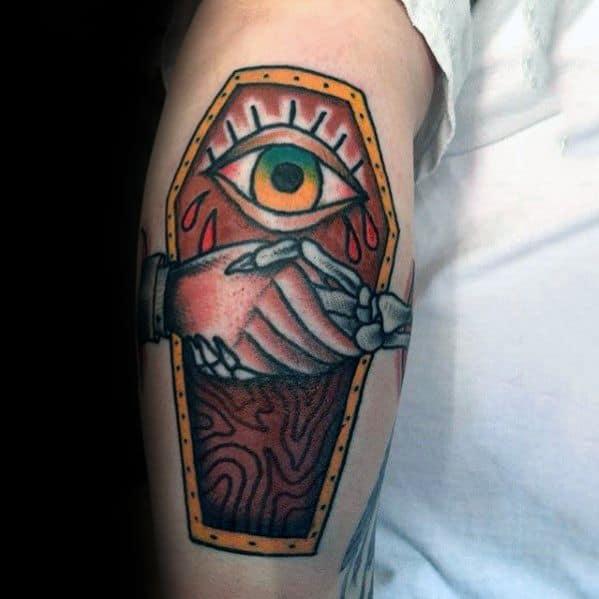Leg Coffin Eye Handshake Tattoos Guys