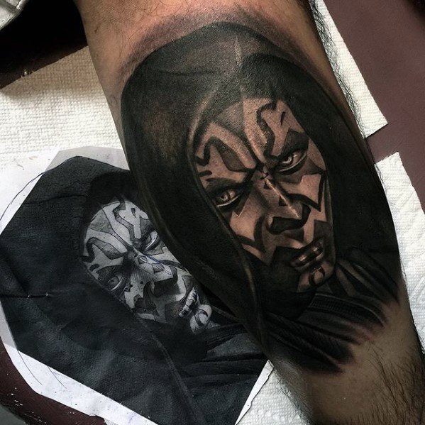 Leg Cool Male Darth Maul Tattoo Designs