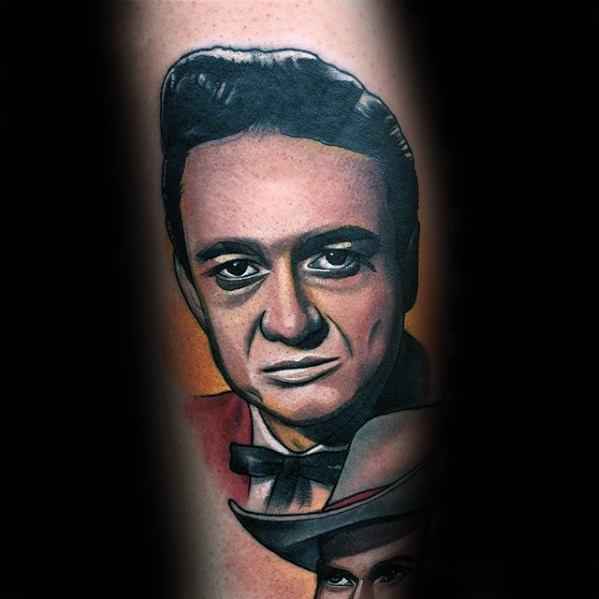 Leg Cool Male Johnny Cash Tattoo Designs