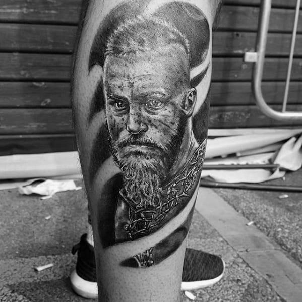 Leg Cool Male Ragnar Tattoo Designs