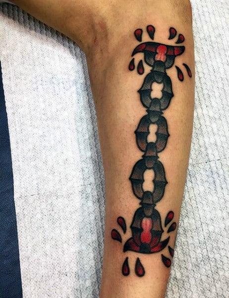 Leg Cross Chain Tattoo For Men